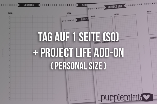 black planner kit // Tag auf 1 Seite ( So) + Project Life Add-on