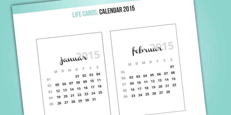 "Life Cards - 3x4"" - Calendar 2015"