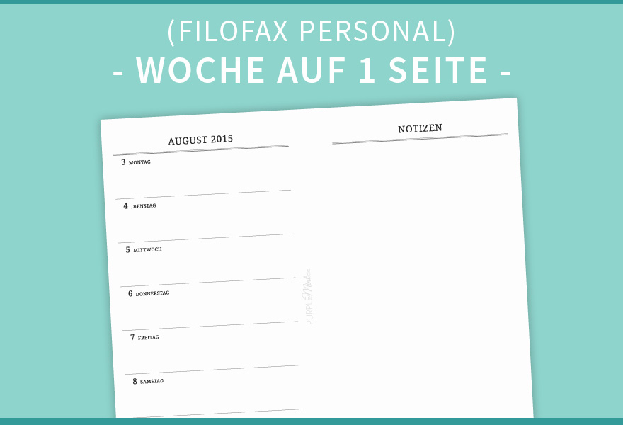 Filofax Personal // Wo1p + Notes (clean) | purplemint