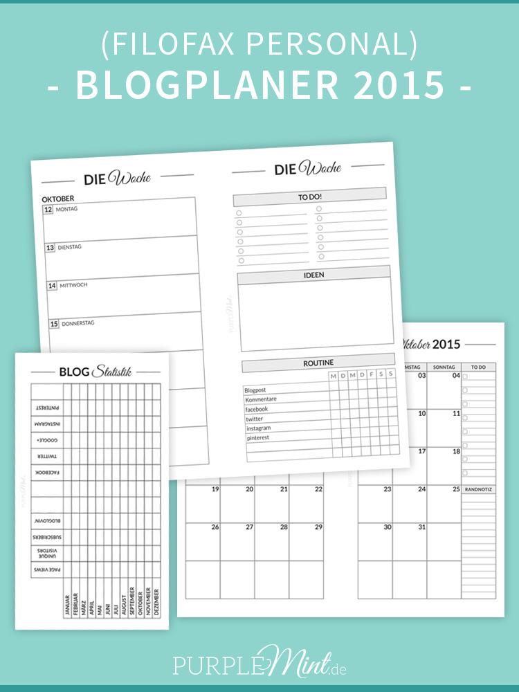 Blogplaner 2015 / Filofax Personal / deutsch / Free Printable