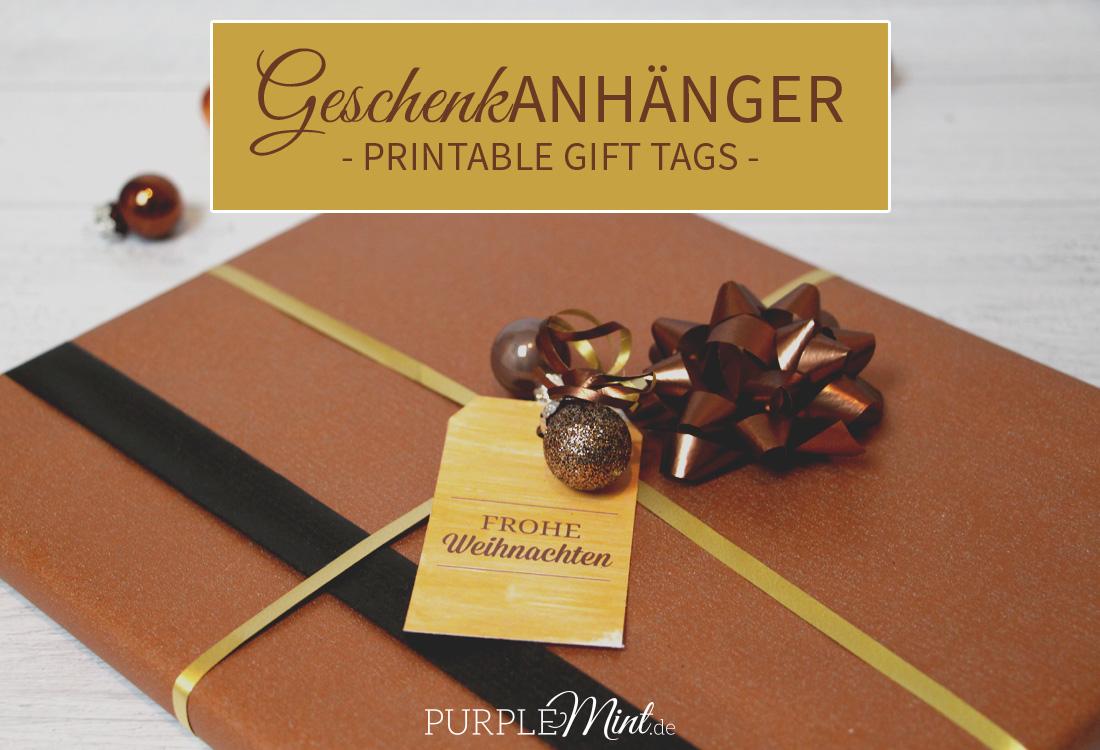 Geschenkanhänger - Printable Gift Tags - Gold und Braun