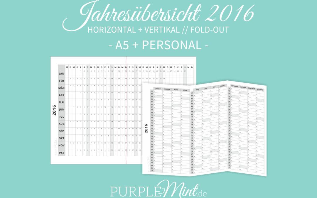Fold-out Jahresübersichten 2016 // A5 + Personal [freebie]