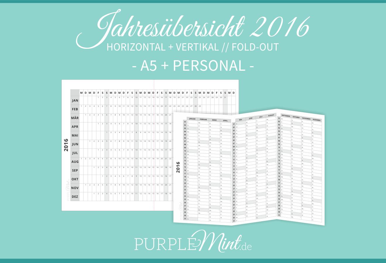 Kalender - Fold-out Jahresübersicht 2016 - A5 + Personal - Filofax / Kikki-k