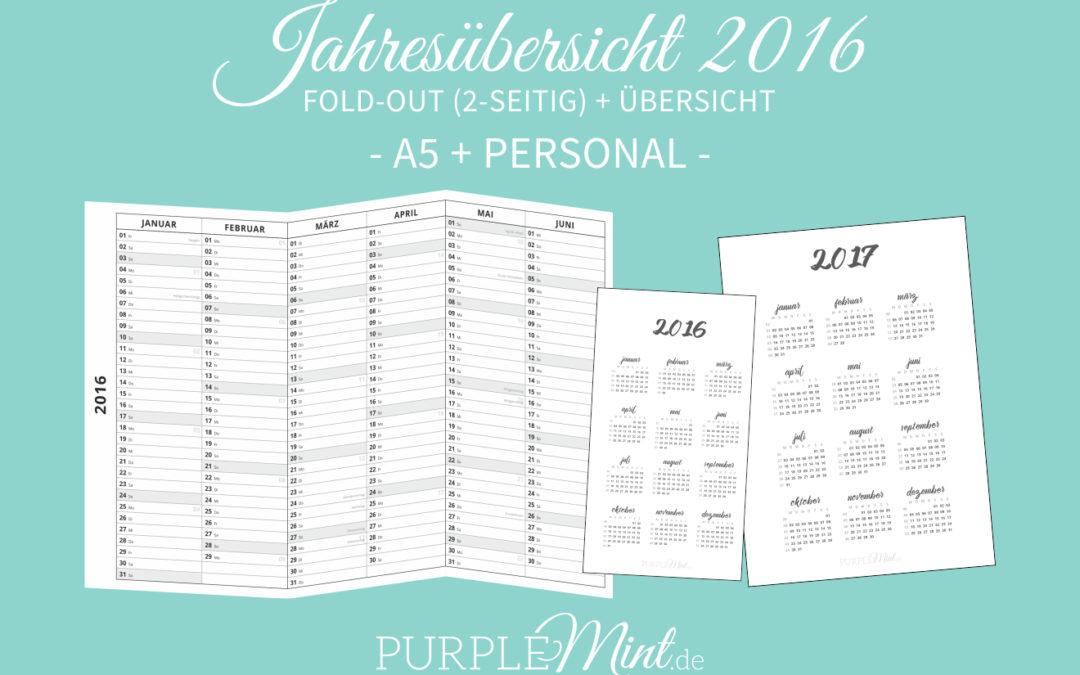 Jahresübersicht 2016 // A5 + Personal – #1 (freebie)