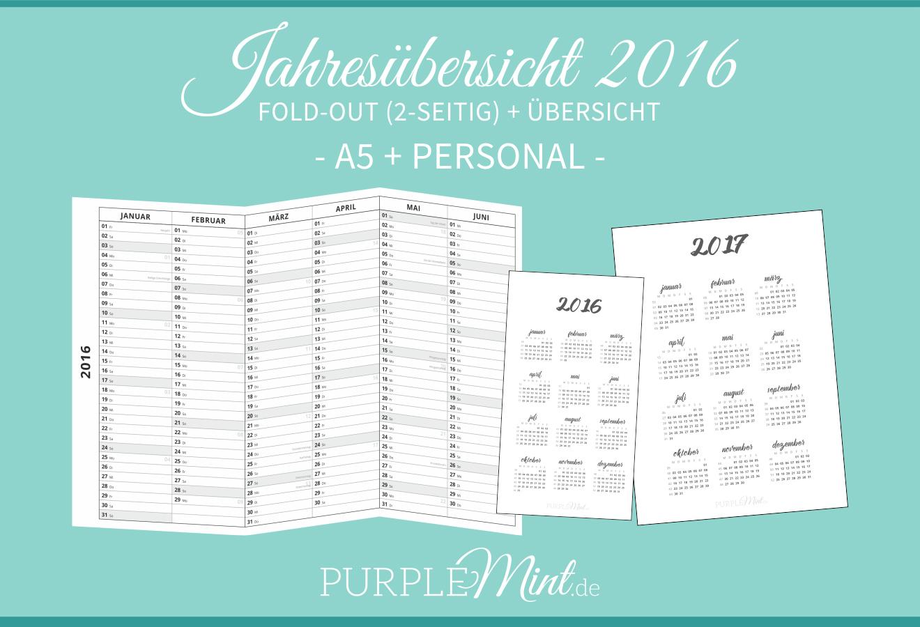 Kalender - Jahresübersicht 2016 + 2017 - A5 + Personal - Filofax / Kikki-k