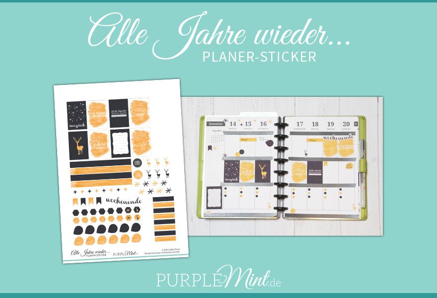 Purplemint Planer-Sticker Filofax - Alle Jahre wieder - Gold