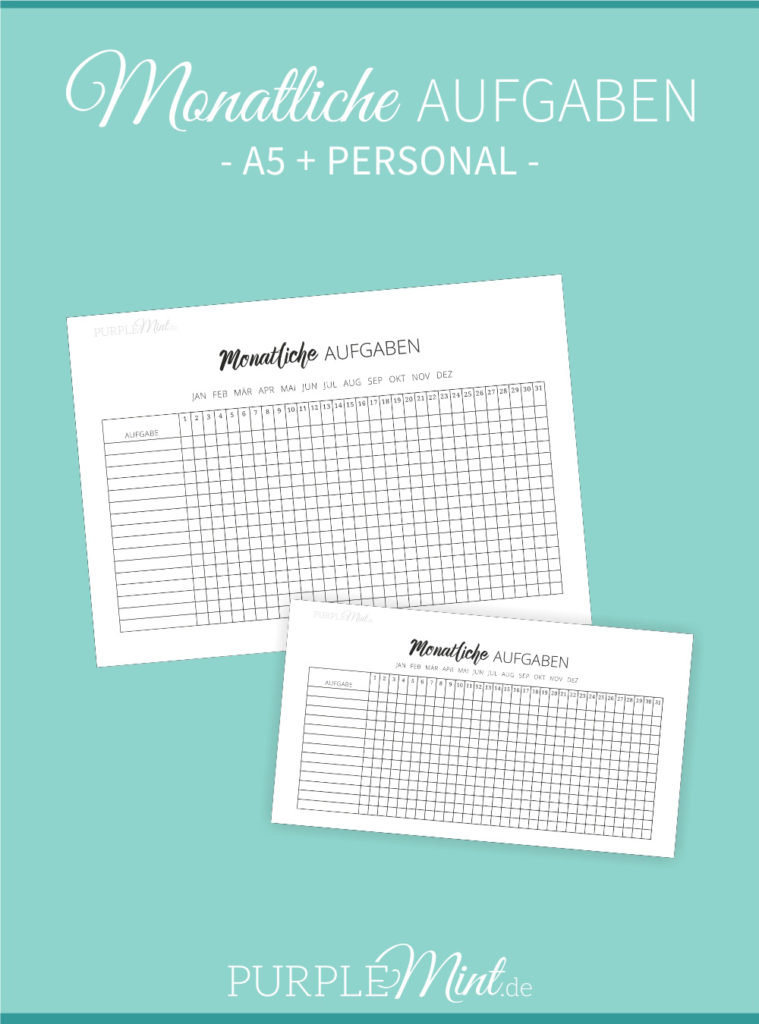 Monatliche Aufgaben // Monthly Tracker - Filofax - A5 + Personal // freebie