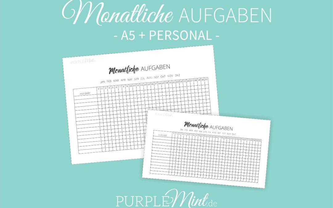 Monatliche Aufgaben – Checkliste // Filofax [free printable]