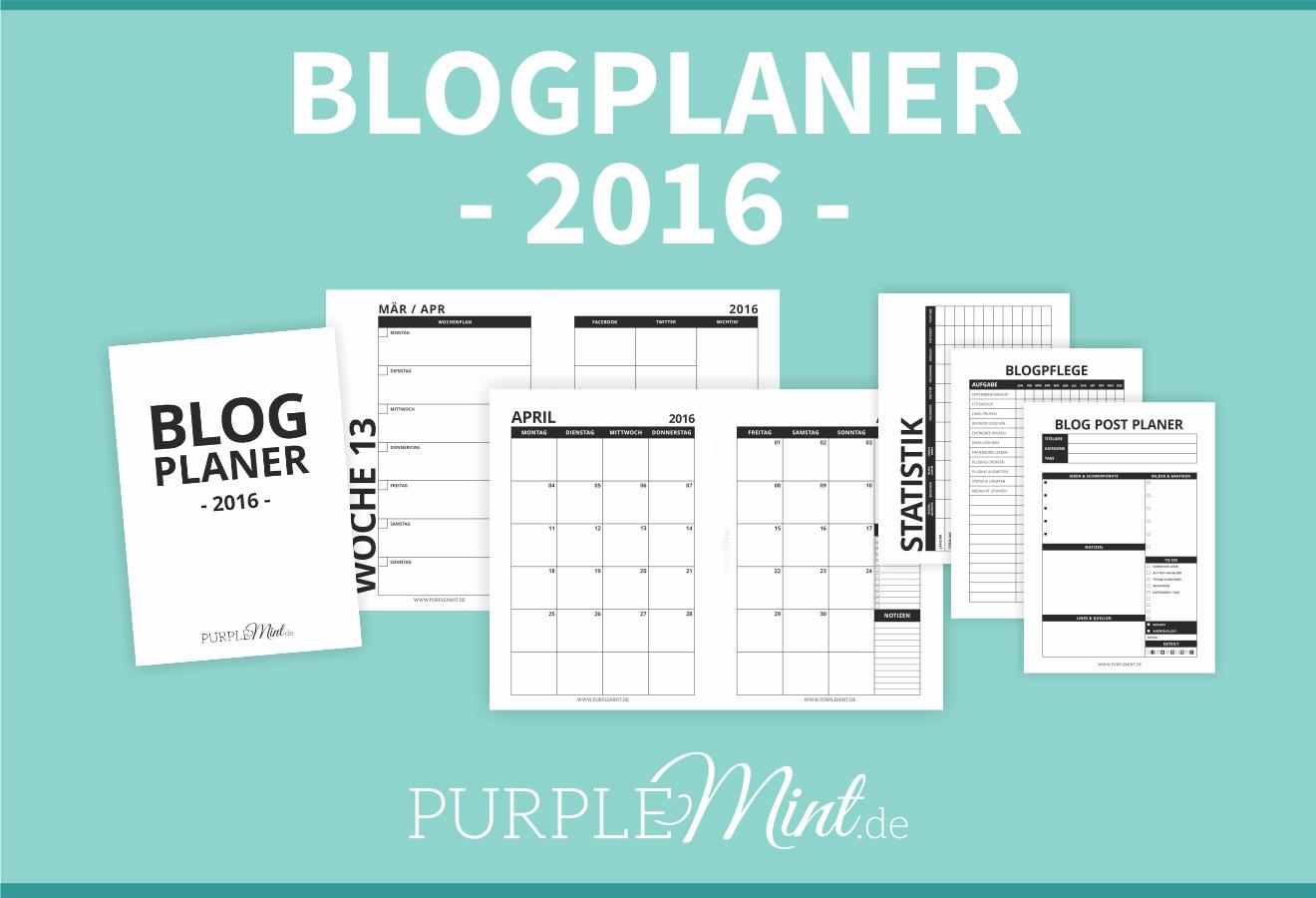 Purplemint Blogplaner 2016 - A5 - deutsch - free printable