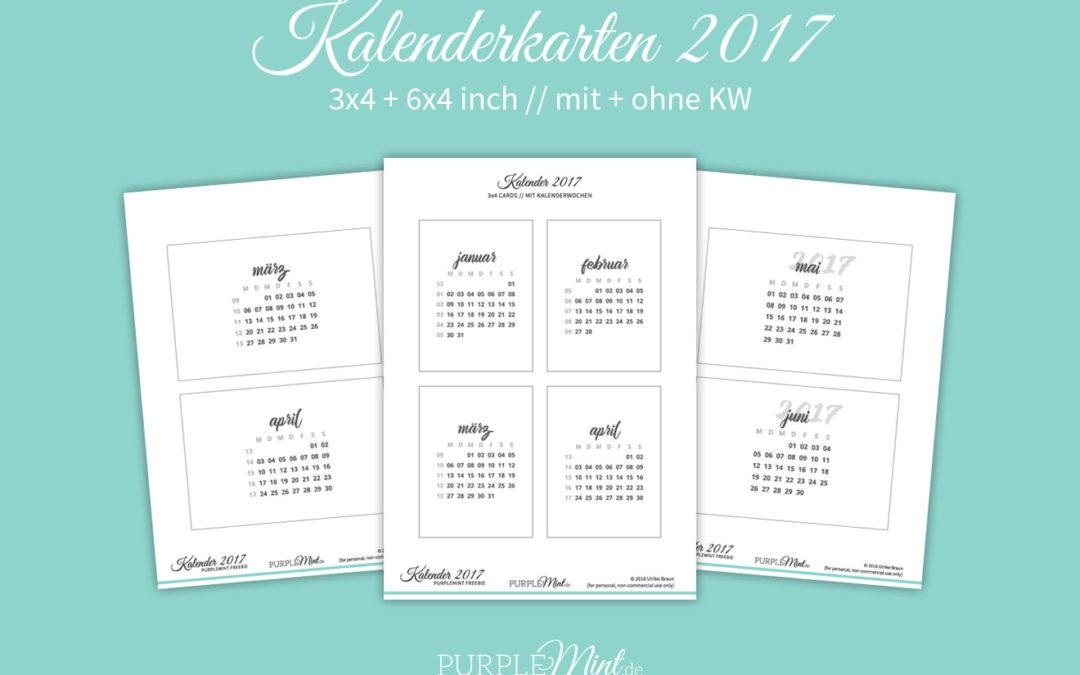 Kalenderkarten 2017 // 6×4 + 3×4 [freebie]