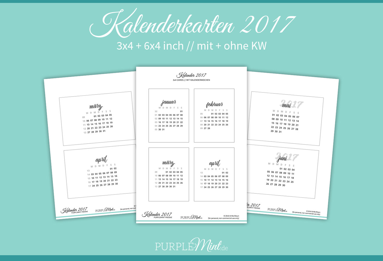 Purplemint Kalenderkarten 2017 - 3x4 + 6x4 - deutsch