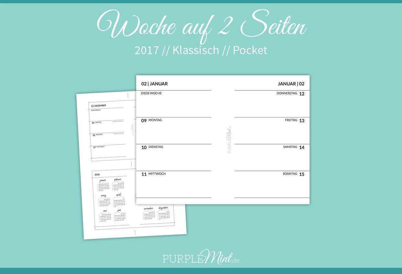 Freebie - Kalender 2017 - Wo2p klassisch - Woche auf 2 Seiten // Pocket