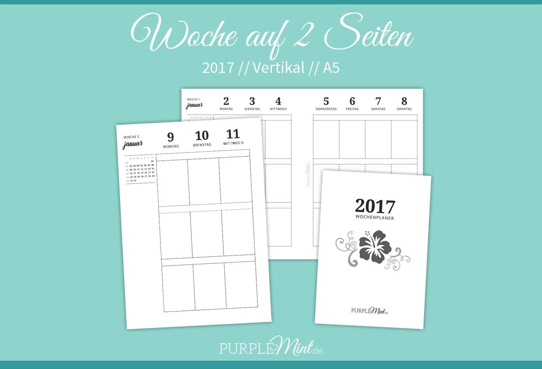 Freebie - Kalender 2017 - Wo2p vertikal - Woche auf 2 Seiten - A5